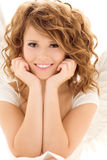 Happy teenage angel girl over white Royalty Free Stock Photography
