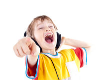 Happy teenage boy with headphones Royalty Free Stock Photography