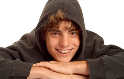Happy teenage boy with hoodie Royalty Free Stock Image