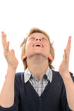 Happy teenage boy praying Royalty Free Stock Images
