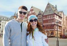 Happy teenage couple over frankfurt am main city Royalty Free Stock Photo