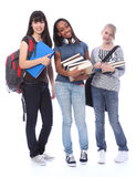 Happy teenage ethnic student girls in education Stock Photos