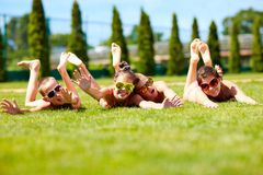 Happy teenage friends enjoying summer Royalty Free Stock Images