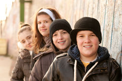 Happy teenage friends having fun outdoor Royalty Free Stock Photos