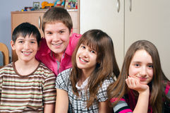 Happy teenage friends spending time together Stock Photo