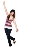 Happy teenage girl. Excited teenage girl stretch out her hands happily Royalty Free Stock Photography
