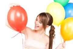 Happy teenage girl with balloons Royalty Free Stock Photography