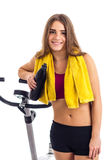 Happy teenage girl after bicycle training Stock Photos