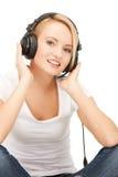 happy teenage girl in big headphones Royalty Free Stock Photo