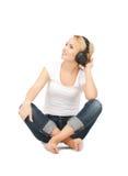 happy teenage girl in big headphones Royalty Free Stock Photos