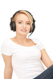 happy teenage girl in big headphones Stock Photography