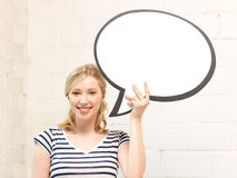Happy teenage girl with blank text bubble Stock Images