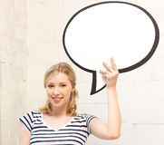 Happy teenage girl with blank text bubble Royalty Free Stock Image