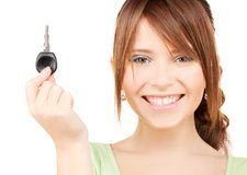 Happy teenage girl with car key Stock Photo