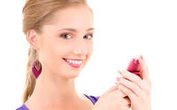 Happy teenage girl with cell phone Royalty Free Stock Photo