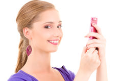Happy teenage girl with cell phone Stock Photo