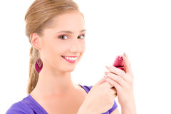 Happy teenage girl with cell phone Stock Photos