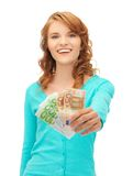 Happy teenage girl with euro cash money Royalty Free Stock Image