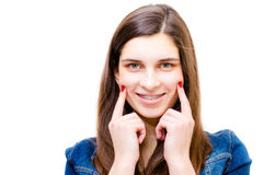 Happy teenage girl funny smiling Stock Photography
