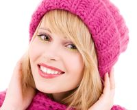 Happy teenage girl in hat Stock Photo
