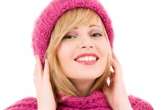 Happy teenage girl in hat Royalty Free Stock Image