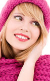 Happy teenage girl in hat Royalty Free Stock Images