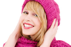 Happy teenage girl in hat Stock Images