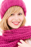 Happy teenage girl in hat Stock Photos