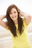 Happy Teenage Girl Having Fun On Beach Stock Photo