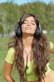 Happy teenage girl in headphones Royalty Free Stock Photography