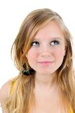 Happy teenage girl isolated. On a white background .beautiful blonde girl Royalty Free Stock Photo