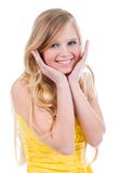 Happy teenage girl isolated. On a white background .beautiful blonde girl Stock Image