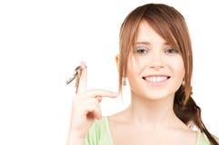 Happy teenage girl with keys Stock Photography