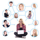 Happy teenage girl with laptop and her social network isolated o Stock Photography