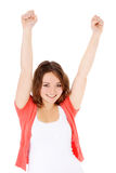 Happy teenage girl lifts her arms Royalty Free Stock Photography