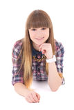 Happy teenage girl lying isolated on white Royalty Free Stock Image