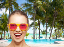 Happy teenage girl in pink sunglasses Royalty Free Stock Images