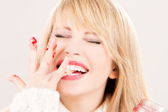 Happy teenage girl with raspberry jam Royalty Free Stock Images