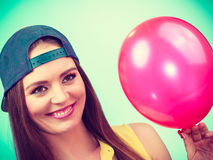 Happy teenage girl with red balloon. Stock Images
