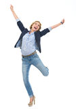 Happy teenage girl rejoicing success Stock Photos