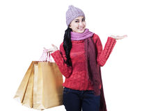 Happy teenage girl with shopping bags Royalty Free Stock Photos