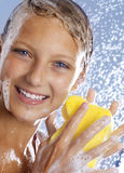 Happy Teenage Girl taking Shower. Happy Young Teen Girl Taking a Shower. Bathing Royalty Free Stock Photography