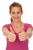 Happy teenage girl with thumbs up Royalty Free Stock Image