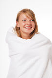 Happy teenage girl in a towel Royalty Free Stock Photography
