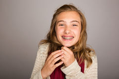 Happy teenage girl wearing braces Stock Photos