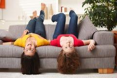 Happy teenage girls at home Stock Photos