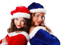 Happy teenage santa clauses Stock Image