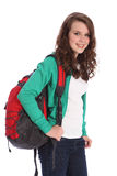 Happy teenage school girl with red backpack Royalty Free Stock Images