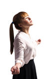 Happy teenage schoolgirl in formal clothes Royalty Free Stock Images