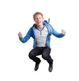 Happy teenager. A teenager Jumping in the air Stock Image
